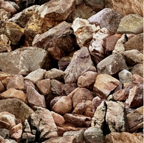 Landscape Medley Brown Rocks and Boulders Cotton Fabric