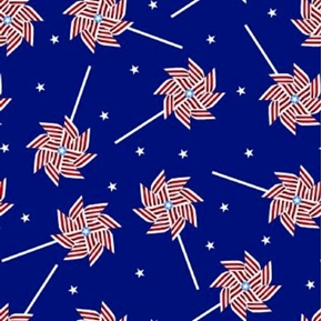 Patriotic Pinwheel Red White Striped Pinwheel on Blue Cotton Fabric