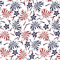 Picture of USA Patriotic Stars and Fireworks Red and Blue on White Cotton Fabric