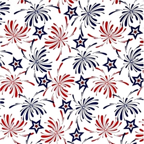 USA Patriotic Stars and Fireworks Red and Blue on White Cotton Fabric