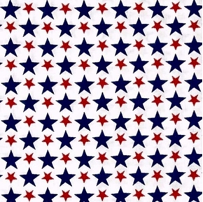 USA Patriotic Packed Stars Red and Blue on White Cotton Fabric