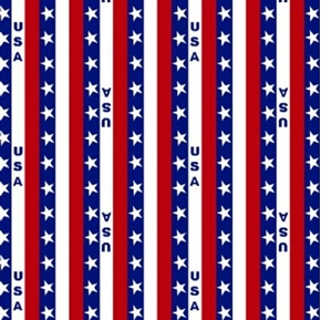 USA Stripe Patriotic Stars and Stripes Cotton Fabric