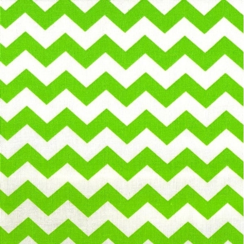 Chevrons Half Inch Lime Green Chevron on White Cotton Fabric