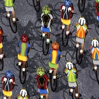 Picture of Cycling Biking Bike Bicycle Race on Grey Cotton Fabric