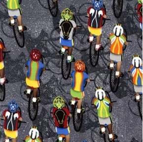 Cycling Biking Bike Bicycle Race on Grey Cotton Fabric