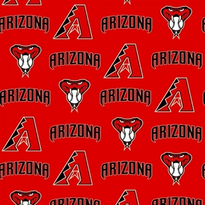 Picture of MLB Baseball Arizona Diamondbacks Serpent Red 18x29 Cotton Fabric