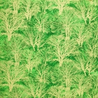 Picture of Glistening IV Gold Metallic Trees on Green Cotton Fabric
