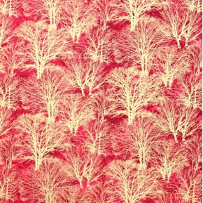 Picture of Glistening IV Gold Metallic Trees on Red Cotton Fabric