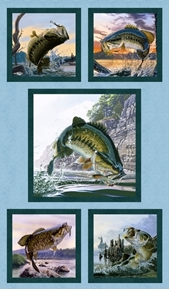 Picture of Top Rod Bass Fish Fishing Blocks 24x44 Large Cotton Fabric Panel