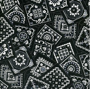 Picture of Bandana Classics White and Grey Squares on Black Cotton Fabric