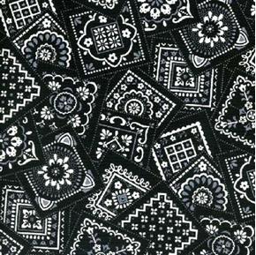 Bandana Classics White and Grey Squares on Black Cotton Fabric