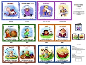 Calendar Babies Children Playing Every Month Fabric Book Craft Panel