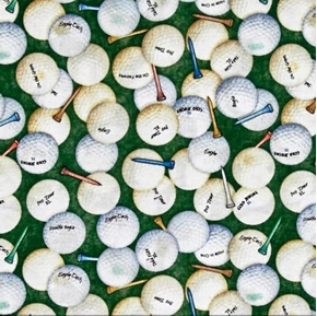 Picture of Tee'd Off Golf Balls and Tees Golfing Green Cotton Fabric