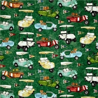 Picture of Tee'd Off Golf Carts and Flags Golfing Green Cotton Fabric