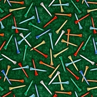 Picture of Tee'd Off Colorful Golf Tees Golfing Green Cotton Fabric