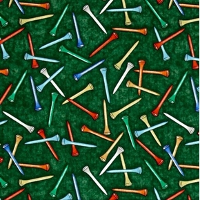 Tee'd Off Colorful Golf Tees Golfing Green Cotton Fabric