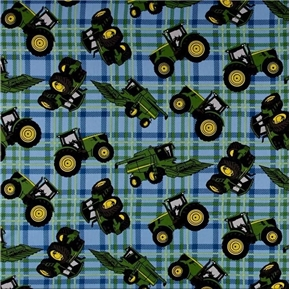 John Deere Farm Tractor Tractors Farming Blue Plaid Cotton Fabric