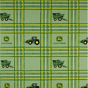 Picture of John Deere Farm Tractors and Logos Farming Green Plaid Cotton Fabric