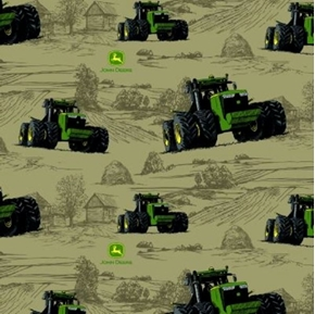 Picture of John Deere Farm Tractor Tractors Farming Brown Cotton Fabric