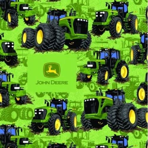 John Deere Farm Tractor Tractors Farming Green Cotton Fabric
