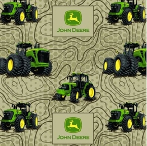 Flannel John Deere Farm Tractor Terrain Lines Brown Cotton Fabric