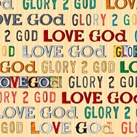 Picture of Glory To God Love God Text Religious Cream Cotton Fabric