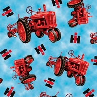 Picture of On the Farm Int Harvester Farmall Tractors Blue Cotton Fabric