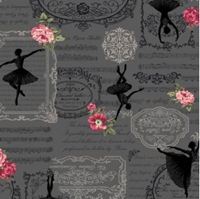 Picture of Ruru Bouquet Prima French Classical Ballet Charcoal Cotton Fabric