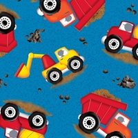 Picture of Dig It Truck Toss Toy Construction Trucks Blue Cotton Fabric