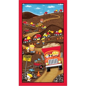 Dig It Construction Truck Play 24x44 Cotton Fabric Panel