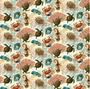 Picture of Aquarian Large Turtles Crabs Seahorse Fish Underwater Cotton Fabric