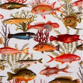 Under the Sea Tropical Fish and Plant Life Cream Cotton Fabric