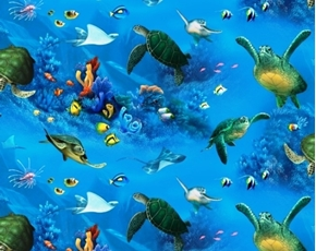 Enchanted Waters Turtles, Fish and Stingrays Blue Cotton Fabric