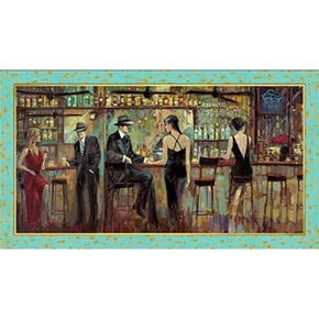 Artworks Vintage Bar Scene 24x44 Digitally Printed Cotton Panel