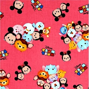 Disney Tsum Tsum Group Toss Character Faces Logos Pink Cotton Fabric