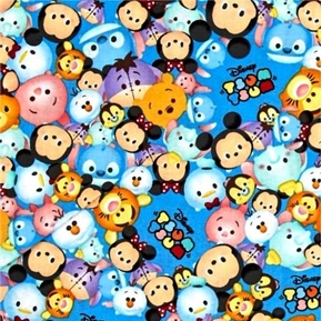 Disney Tsum Tsum Packed with Logo Character Faces Blue Cotton Fabric