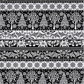 Winter Essentials IV Christmas Tree Black Stripe Cotton Fabric