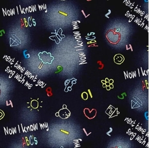 Picture of Alphabet Friends Now I Know My ABC's Black Cotton Fabric