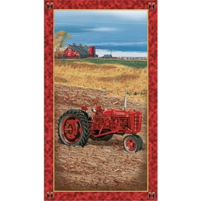 On the Farm Int Harvester Farmall Tractors 24x44 Cotton Fabric Panel
