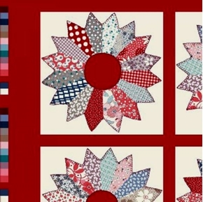 Tick Tack Piece Work Red Quilt Pattern 24x44 Cotton Fabric Panel