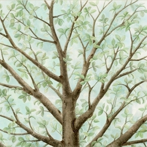 Picture of Magic Tree Beautiful Birds Azure 24x22 Cotton Fabric Panel