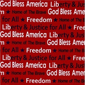Picture of American Anthem God Bless America Patriotic Red Cotton Fabric
