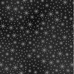 Lovely Pansies Tiny Silver Metallic Stars on Black Cotton Fabric