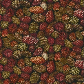 Autumn Romance Pine Cone Brown Red Pine Cones Packed Cotton Fabric