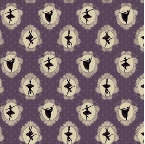 Picture of Ruru Bouquet Prima Cameo Classical Ballet Dark Lavender Cotton Fabric