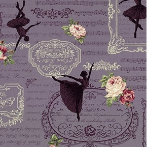 Ruru Bouquet Prima Classical Ballet Dark Lavender Cotton Fabric