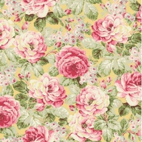 Picture of Ruru Bouquet Prima Ballet French Pink Roses on Yellow Cotton Fabric
