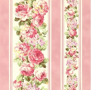 Picture of Ruru Bouquet Prima Ballet Light Pink Roses Pink Stripes Cotton Fabric