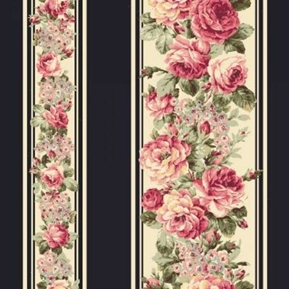 Picture of Ruru Bouquet Prima Ballet Dark Pink Roses Black Stripes Cotton Fabric