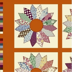 Tick Tack Piece Work Orange Quilt Pattern 24x44 Cotton Fabric Panel